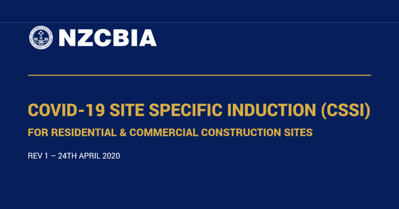 COVID-19 SITE SPECIFIC INDUCTION (CSSI) FOR RESIDENTIAL & COMMERCIAL CONSTRUCTION SITES